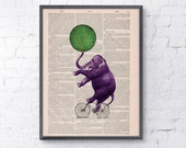 Vintage book print Circus Elephant  on a bicycle Print on Vintage Book page- Nursery wall art BPAN094