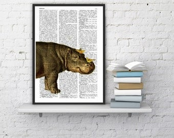 Wall decor Hippo and Yellow birds, Print -  Home decor altered art on upcycled book pages, wall art, hippoputamus  home decor Gift BPAN014