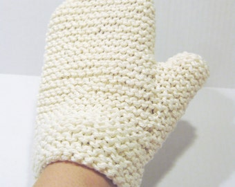 Cotton spa bath mitt natural hand knitted