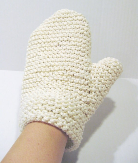 Cotton spa bath mitt natural hand knitted