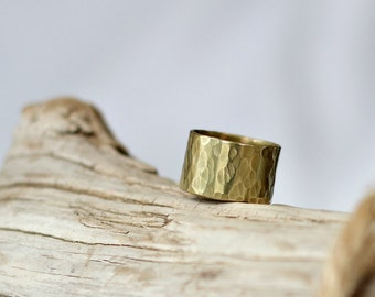 Thick Brass Ring Chunky Hammered Gold Band