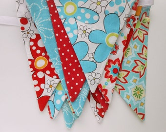 Fabric Banner in Teal Blue and Red / Party Banner in Aqua/ Baby Shower Bunting/ Photo Prop/ Bridal Shower/  Large Flags