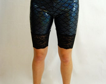 Black Mermaid Glitter Sparkle Knickers, Gold Mermaid Rainbow sparkle Shorts, Leggings, Lace Trim