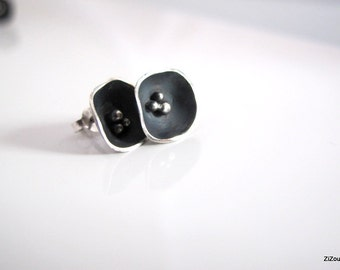 Silver Stud Earrings,Flower studs, modern silver stud earrings gift for her