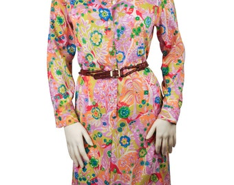 Colorful Floral Dress with Pockets Large / 10