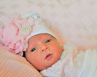 Baby Girls Coming home Lace hospital hat