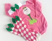 Girl Golf One PIece Little Caddy with argyle baby leg warmers and headband with bow