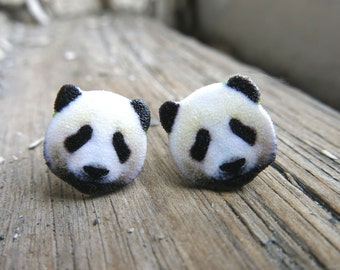 Panda Bear Animal Stud Post Earrings Accessories Stocking Stuffer Christmas Zoo Furry Creatures Jewelry Gift for Her Girl Best Friend Ideas