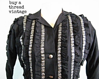 Vintage 50's Black and Silver Fitted Southwestern Blouse with Silver Conchos