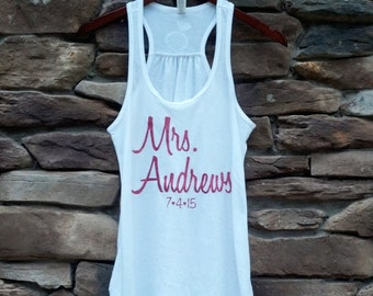 Bride tank top. Personalized Mrs. shirt. Glitter wording. Racerback tanks for bridal party, Maid of Honor, Bridesmaids. Wedding party gifts