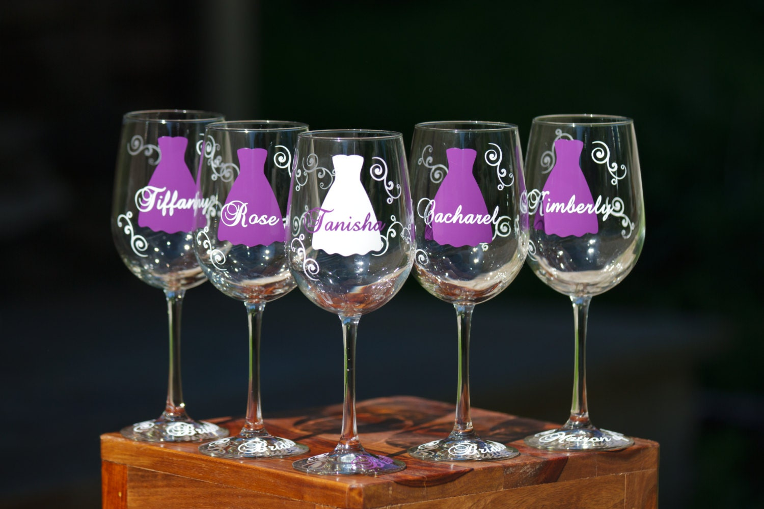 Bridesmaid Gift Idea Wine Glass Includes Name And Title