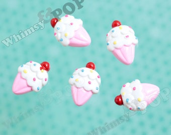 5 - Kawaii Foodie Cherry on Top Sprinkles Ice Cream Pink Cone Cabochon, Ice Cream Cone Cabochon, Ice Cream Cabochon, 14mm x 21mm (R6-074)