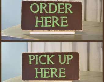 Set of 2 Wooden Business Sign, Pick up Here, Order Here, 18x9, Distressed - many colors