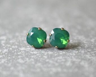 Opal Studs Swarovski Crystal Palace Green Opal Cushion Cut Stud Earrings Clip On Jade Green Earrings Green Bridesmaids Wedding Jewelry Gift