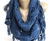 navy blue Crochet Scarf Shawl Wrap Spring Scarf Scarves Crocheted Shawl Cowl For Her Girls Accessories Gift ideas senoAccessory