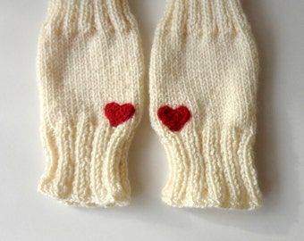 Knit Gloves ,Fingerless Gloves ,Heart Gloves ,Arm Warmers ,Mittens ,Winter Accessories Women Gloves // gift for her /  valentines day gift
