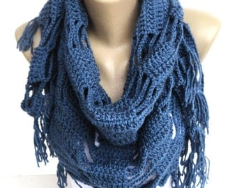navy blue Crochet Scarf Shawl Wrap Spring Scarf Scarves Crocheted Shawl Cowl For Her Girls Accessories Gift ideas senoAccessory