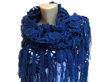 navy Crochet Shawl / Bridal Shawl / Wedding Shawl / Bridal Shrug / Winter Wedding / Bridal Bolero / Bridal Cover Up / Winter Accessories