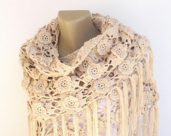 Cotton Crochet Shawl / Bridal Shawl / Wedding Shawl / Bridal Shrug / Winter Wedding / Bridal Bolero / Bridal Cover Up / Winter Accessories