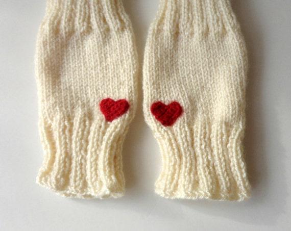 Knit Pattern Heart Mittens : Knit Gloves Fingerless Gloves Heart Gloves Arm by senoAccessory
