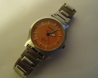 Mens Watch Vestal Quartz Orange Dial Stainless Steel