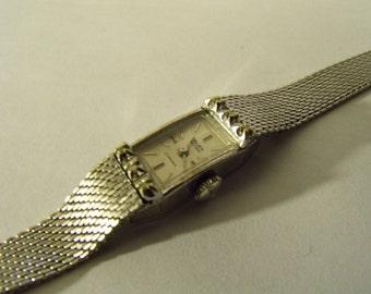 Ladies Watch Gruen 17J Diamonds 10KT White Gold Filled
