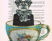 Mixed Media Digital Print Illustration Print Art Poster Acrylic Painting Holiday Decor Drawing Illustration Gift :Dog in a cup
