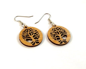Small Tree of Life Sustainable Wooden Hook Earrings - One Inch Sustainably Harvested Oak Wood Dangle Earrings