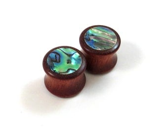 "Abalone Circle on Bloodwood Inlay Plugs - PAIR - 0g (8mm) 00g (9mm) (10mm) 7/16"" (11mm) 1/2"" (13mm) 9/16"" 14mm 5/8"" 16mm + up Wooden Gauges"