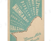 North Shore Oahu Surf Map - 12x18 Retro Hawaii Print