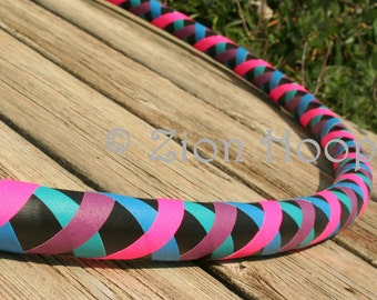 Criss Cross Pattern collapsible Hula Hoop. CUSTOM COLORS, and diameter - Adult Intermediate - Medium weight hoop