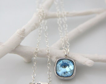 Aquamarine Pendant - Blue Swarovski Pendant Necklace - Birthstone Jewelry