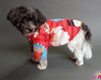 Christmas Dog Sweater with Santa Snowmen and Stockings - Fleece Dog Pajamas