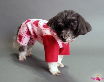 4 Leg Dog Pajamas, Fleece Dog Sweater, Pink with Red Hearts and Contrasting Red Sleeves and Collar