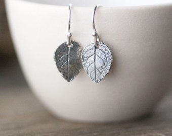 Tiny Silver Leaf Earrings / Gift for Women / Sterling Silver Leaves Jewelry Gift / Botanical Woodland Jewelry by Burnish