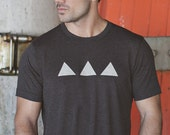 Mens Tshirt - Heather Gray - Mens Clothing - Triangle Geometric -Screen Printed Tee by We Are All Smith