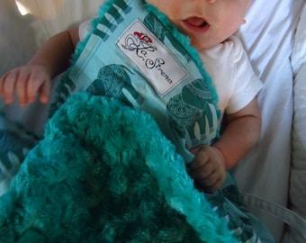 "Cotton Teal Elephant Mini Baby Blanket (""Yummy""): ""Chitkara"""