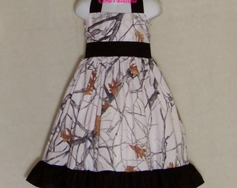 Camo Halter Dress / White Poly-Cotton / True Timber + Black / Flower Girl / Wedding / Infant / Baby/ Girl/ Toddler/ Custom Boutique Clothing