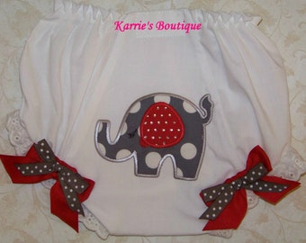 Elephant Diaper Cover / Red + Gray / Rhinestones / Bling / Bloomer / Birthday / Newborn / Infant / Baby / Girl / Toddler / Boutique Clothing