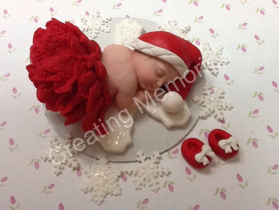 BABY SHOWER Baby ready to Celebrate Dress with Her Red Tutu and Red and Shoes Laying on a Large Snowflake. Winter baby cake decorations