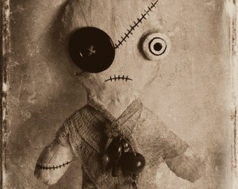 Art Doll Print - Oddy The Spooky Rag Doll - Digital Art Print - Halloween Decor - Spooky Wall Decor