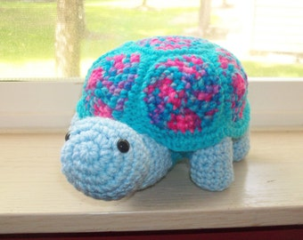 Amigurumi Vibrant Colored Turtle Doll With Removable Shell (FINISHED Doll) - OOAK