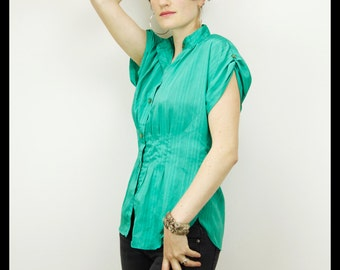 70s 80s GREEN SECRETARY Silky Striped Fitted Blouse, Medium Large