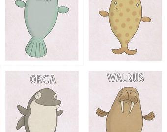 Ocean Friends -  Set of 4 Cute Sea life Animal Prints - Sea life Nursery Prints - Nursery Wall Decor - Art for Kids Room - Kid Wall Art