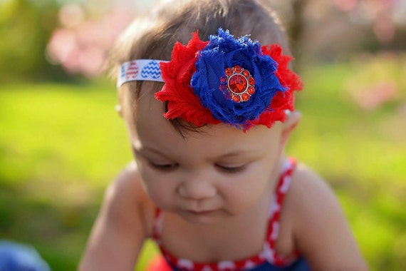 Fourth of July Baby Headband, Red White Blue Baby, Patriotic Baby Headband, Red Baby Bow, Blue Baby Bow, 4th of July Bow, July 4th Bow
