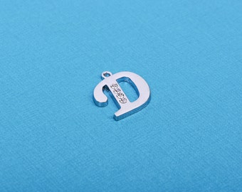 Letter D platinum color silver charm pendant, rhinestone crystals embedded in the metal, alphabet  chs1261