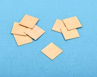 """10 Gold Brass SQUARE Metal Stamping Blanks 12.5mm (1/2"""") 24 gauge  msb0161"""