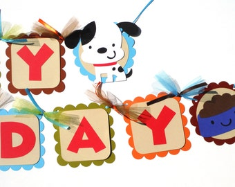 Puppy Party Themed Happy Birthday Banner With Colored Cardstock Banner Pieces
