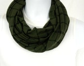 Army Green Jersey Knit Infinity Scarf Double Loop Scarf for Men or Women Handmade by Thimbledoodle