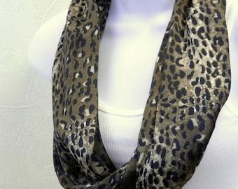 Infinity Scarf Animal Print Black Taupe brown Ivory Satin Cheetah or Leopard Print Single Loop Scarf